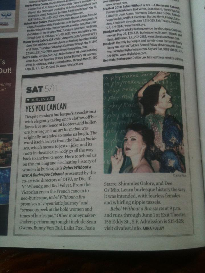 Our opening night was SF Weekly's Pick of the Week for Saturday!